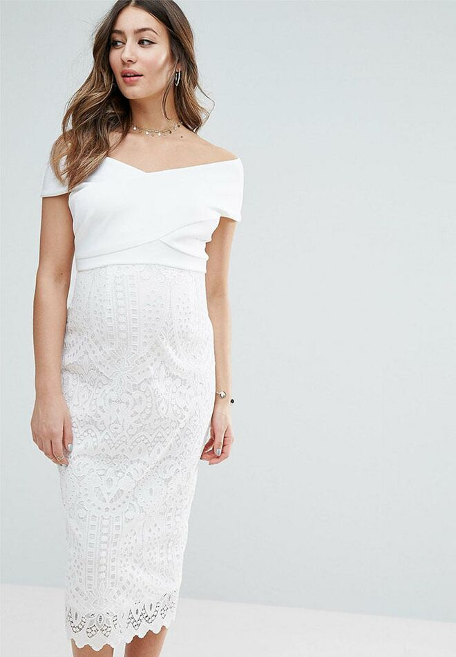 78663ef8f5039 ASOS lace and scuba cheap maternity wedding dress