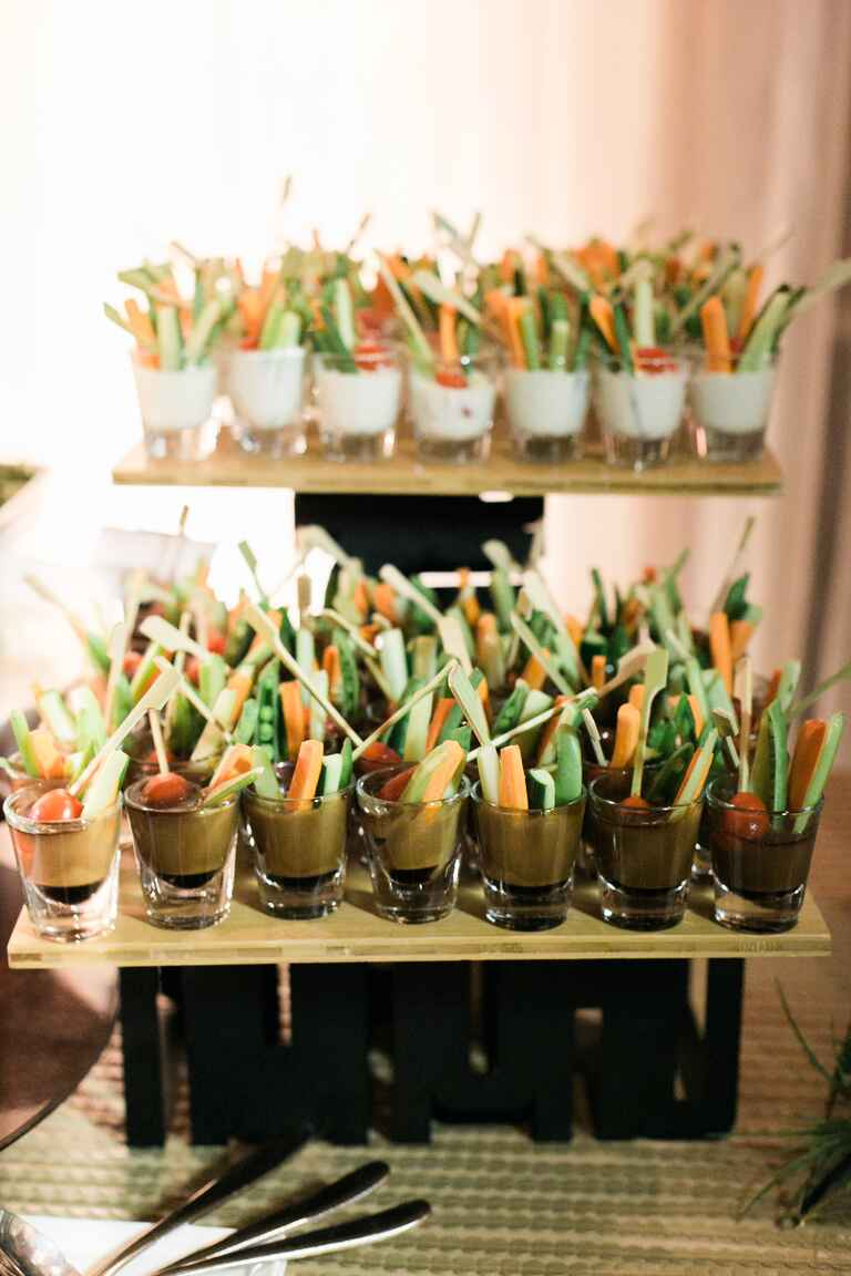 Crudite in shot glasses