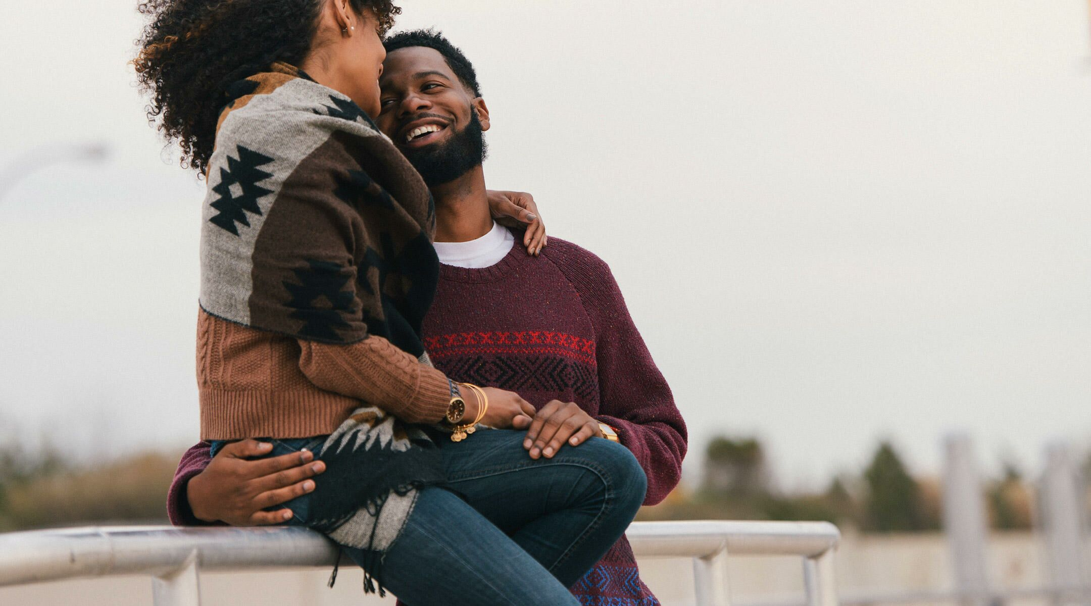 Top 4 sex position myths african american couple embracing outside voltagebd Choice Image