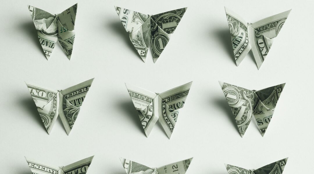Money folded into  little butterflies.