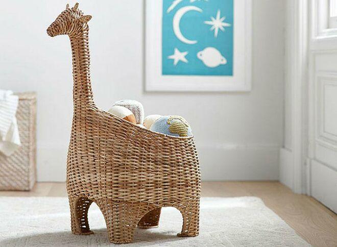 Pottery barn kids giraffe wicker basket