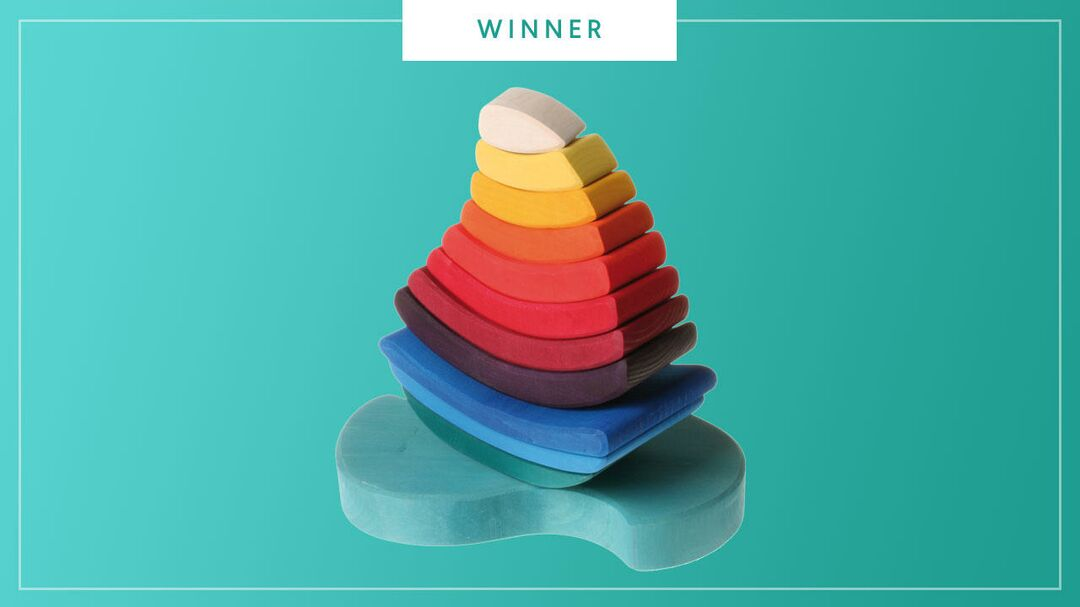 The Grimm's Rainboat Wooden Stacking Toy wins the 2017 Best of Baby award from The Bump