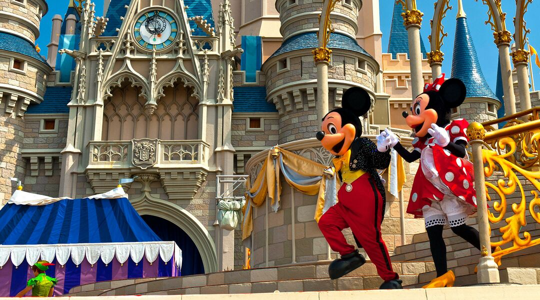 mickey mouse and minnie mouse performing by disney castle