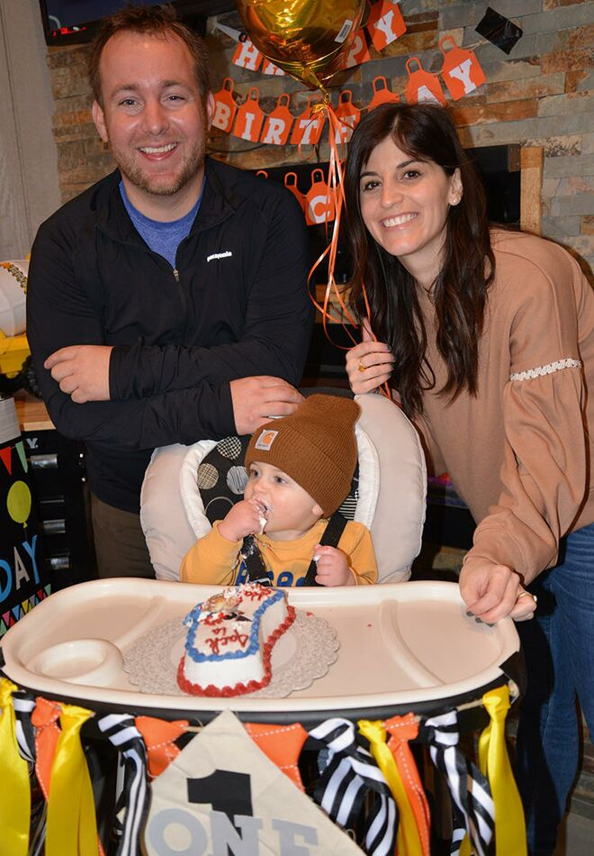 Jack And Parents At Home Depot Themed First Birthday