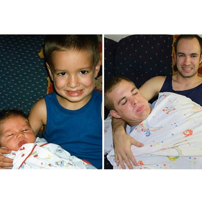 Three Brothers Recreate Baby Photos For Mom