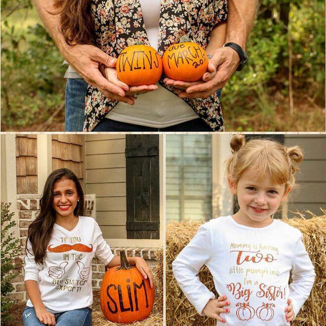 Pumpkin Pregnancy Announcements Family Shirts