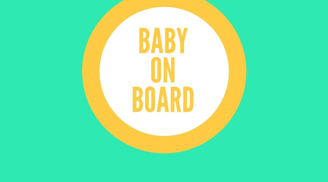 Illustration of Baby on Board badge.