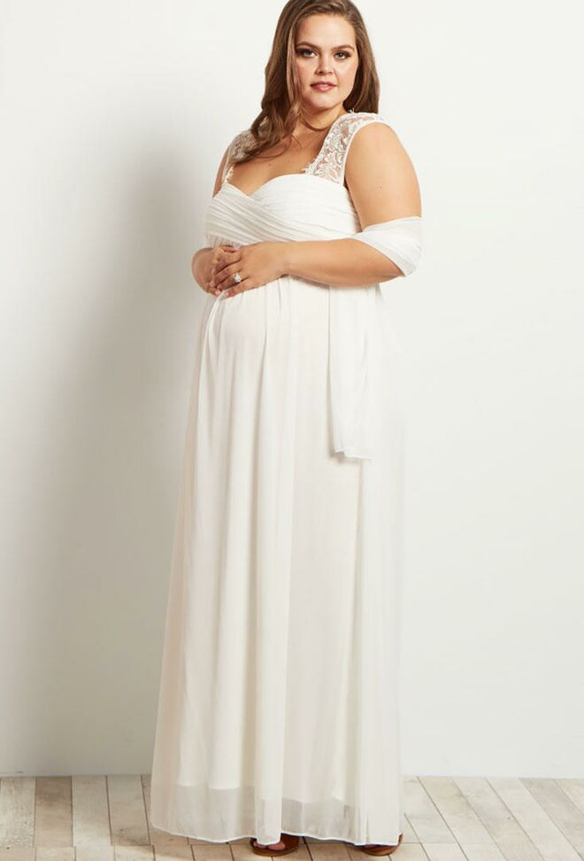 Pinkblush Lace Chiffon Plus Size Maternity Wedding Dress