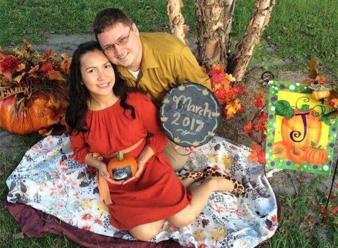 Pumpkin Pregnancy Announcements Couple Under Tree