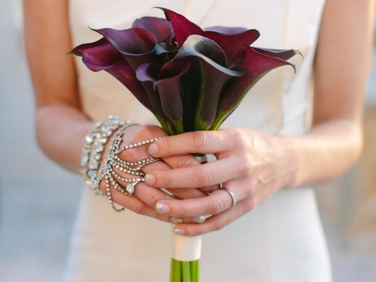 Dark purple calla lily bouquet