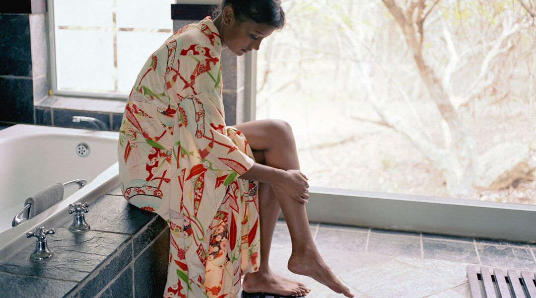 woman bathroom bath robe skincare