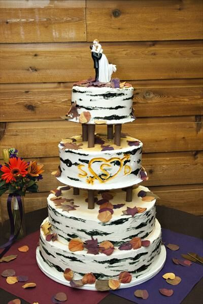 We wanted our cake to look like an aspen tree that was had carved our ...