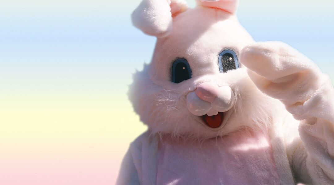 costumed creepy easter bunny