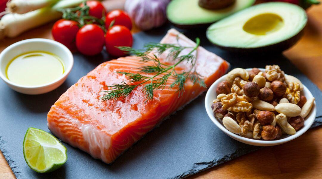 Salmon, avocado, nuts, vegetables