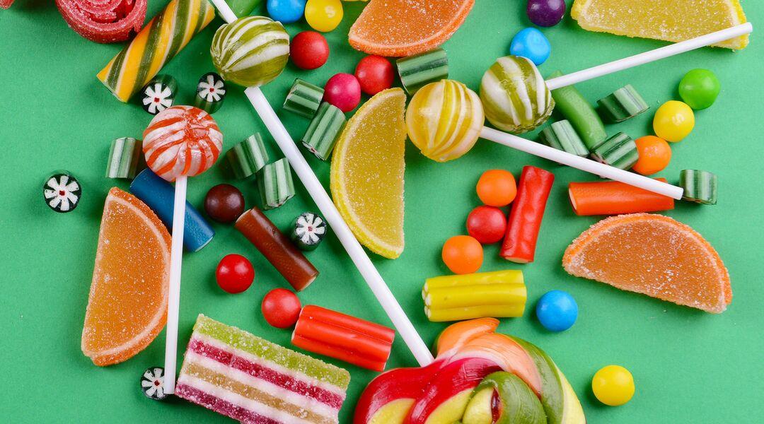 Overhead studio shot of candy