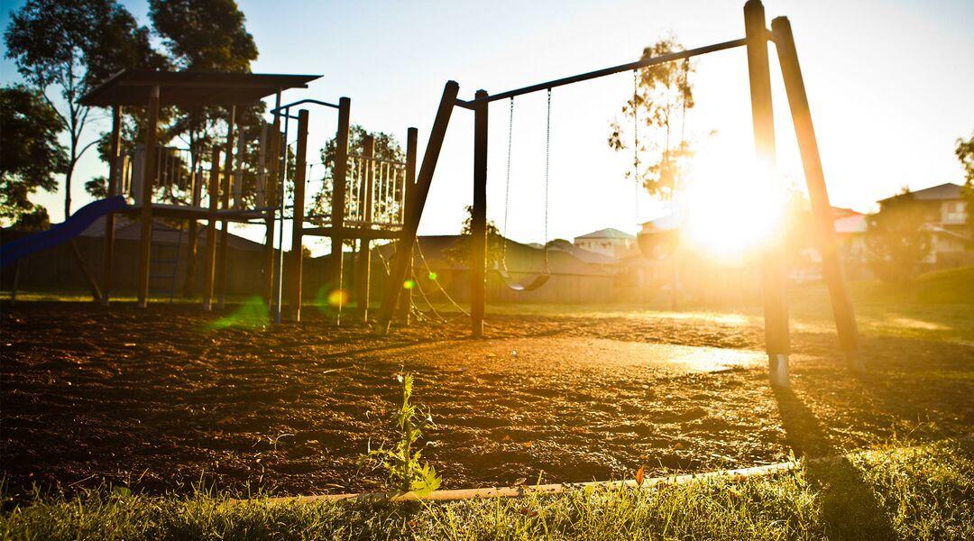 Playground at sunset
