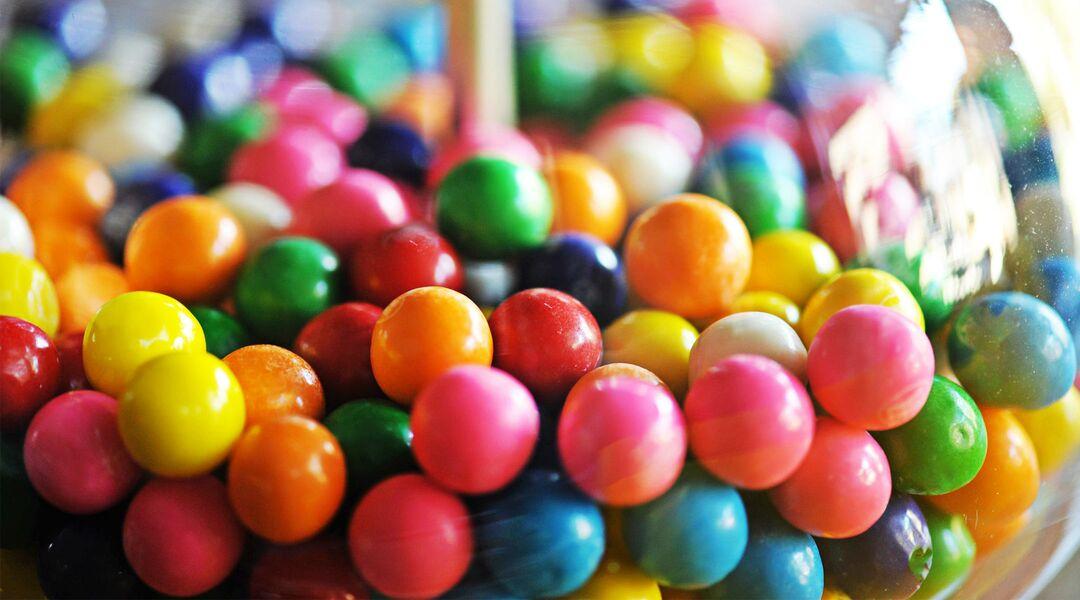 closeup of gum balls