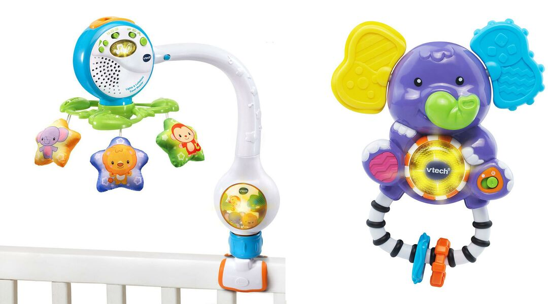 Vtech travel mobile on crib and rattle