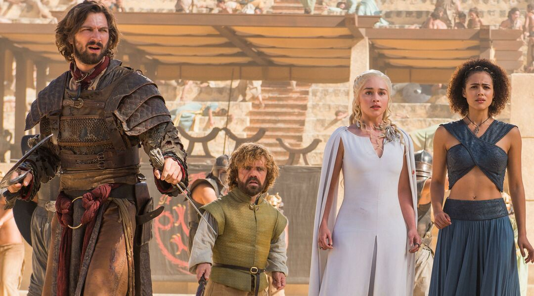Game of Thrones Michiel Huisman as Daario Naharis, Peter Dinklage as Tyrion Lannister, Emilia Clarke as Daenerys Targaryen, Nathalie Emmanuel Missandei, and Iain Glen as Jorah Mormont.