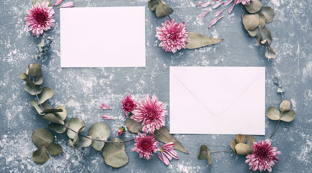 blank thank you note displayed with flowers