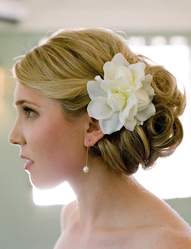 Gardenia flower in a bridal up do
