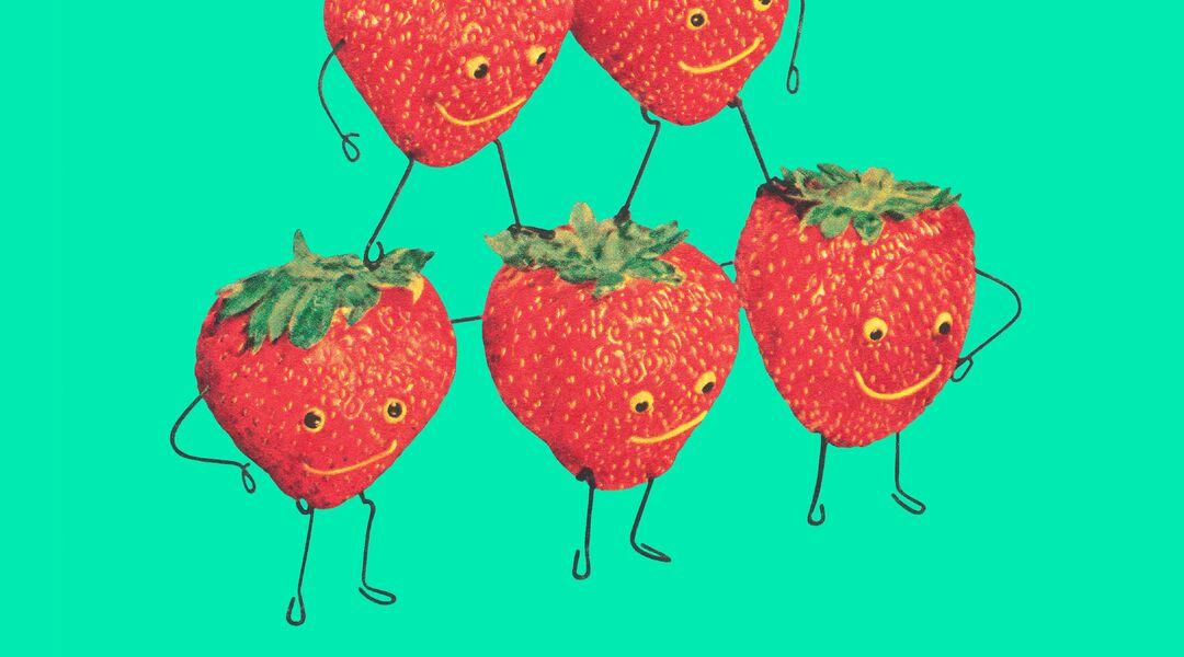 happy healthy strawberries fruit