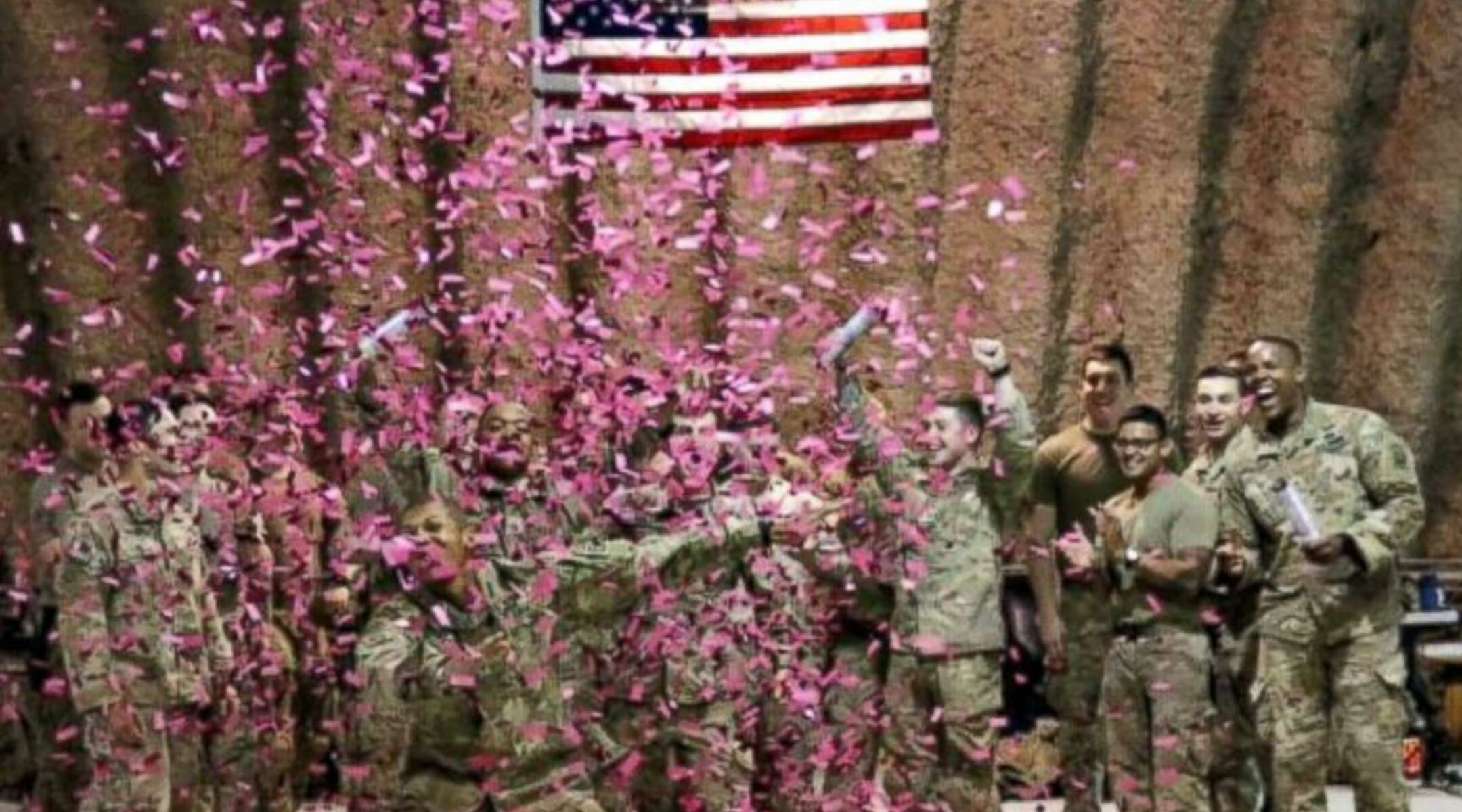 Whats the chance babys gender could be wrong soldiers among pink confetti voltagebd Choice Image