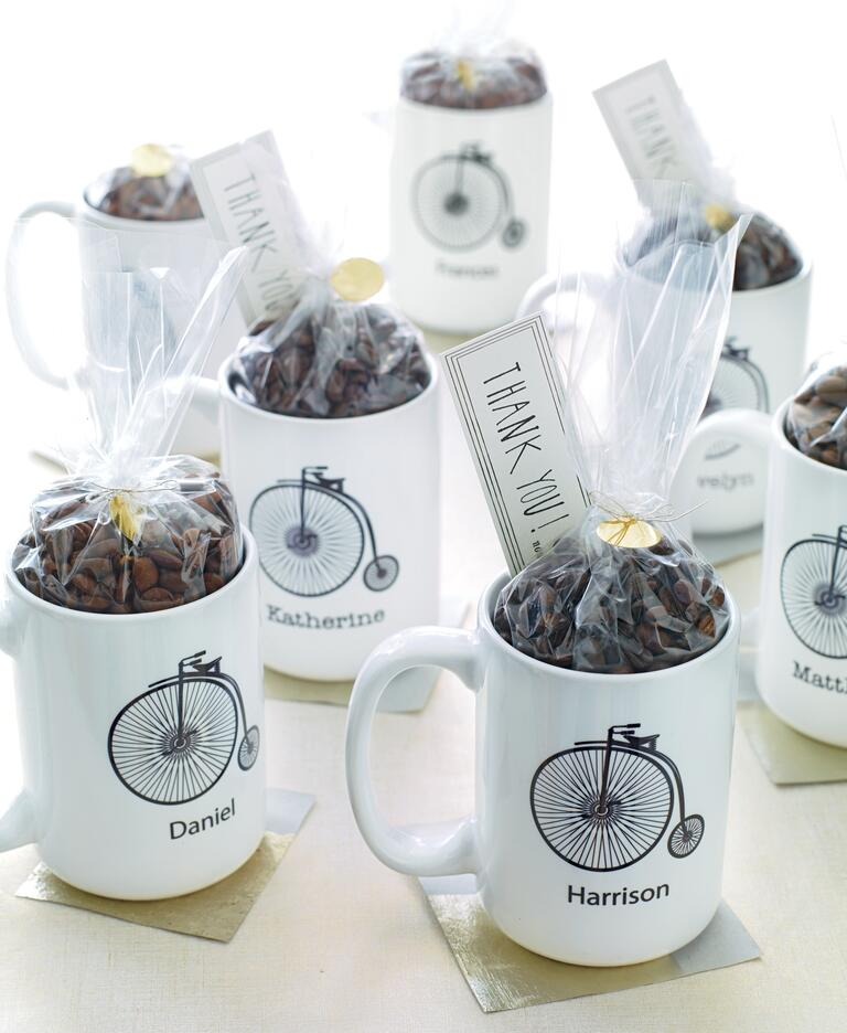 Coffee mugs with coffee beans