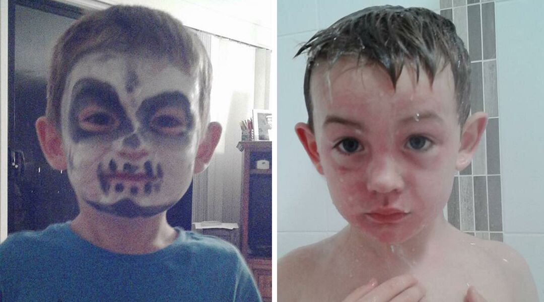 Boy wearing face paint