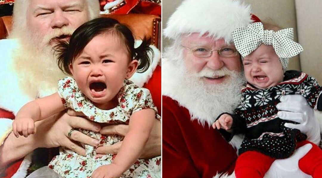 Baby crying on Santa's lap