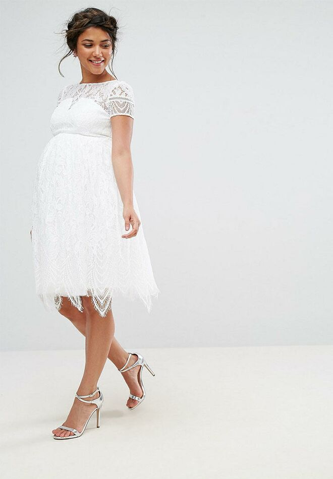 700b5045bca2d Chi Chi London lace short maternity wedding dress
