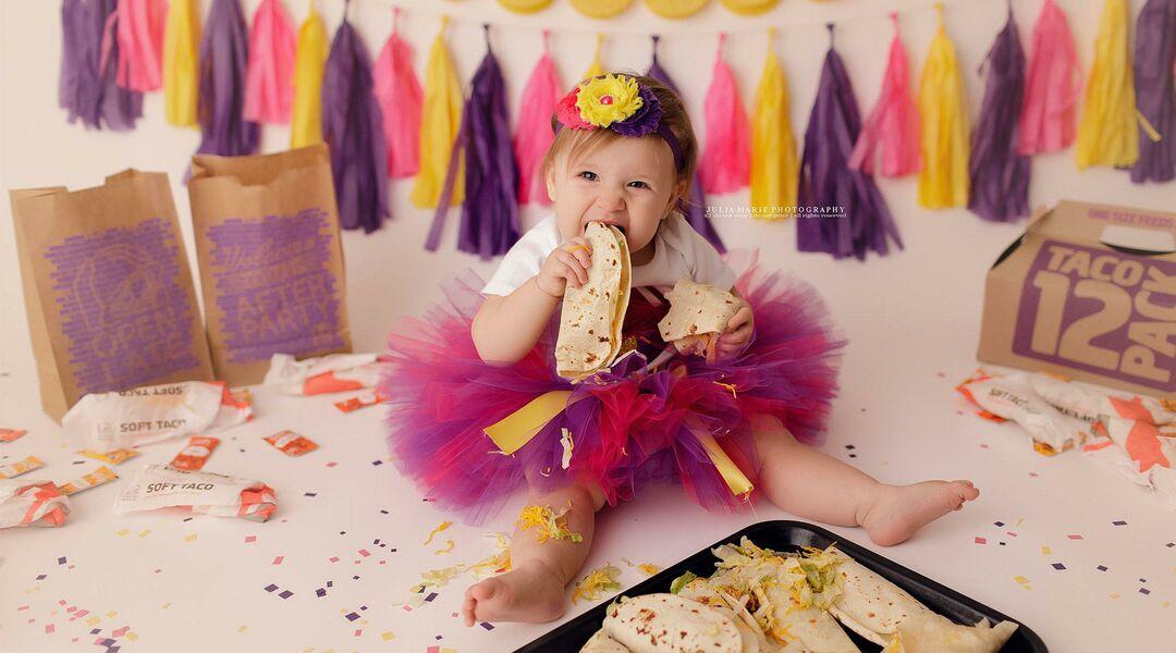 baby having taco bell birthday smash
