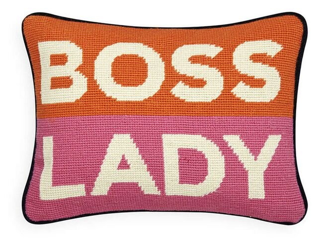boss lady needlepoint pillow