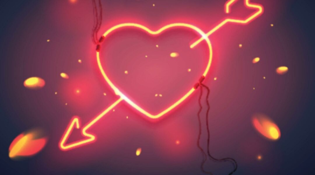 valentines day neon heart with arrow through it