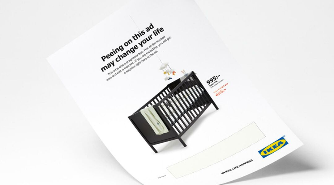 IKEA crib ad featuring a pregnancy test