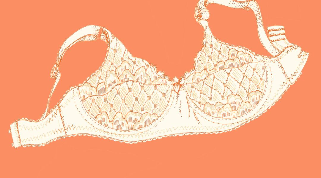 Illustration of bra on orange background.