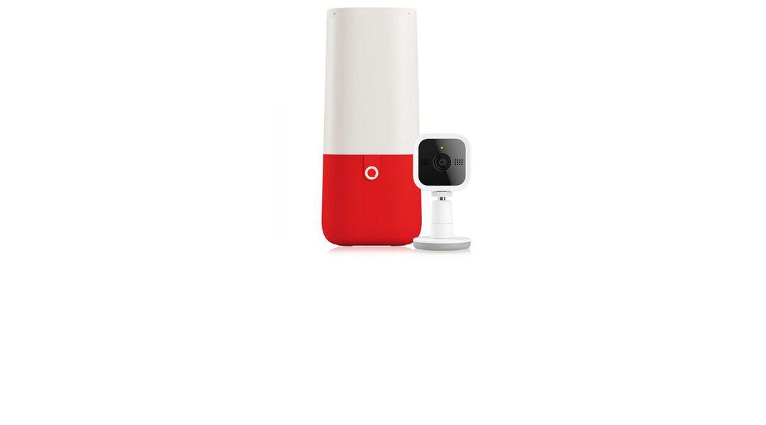 Red smart speaker Aristotle