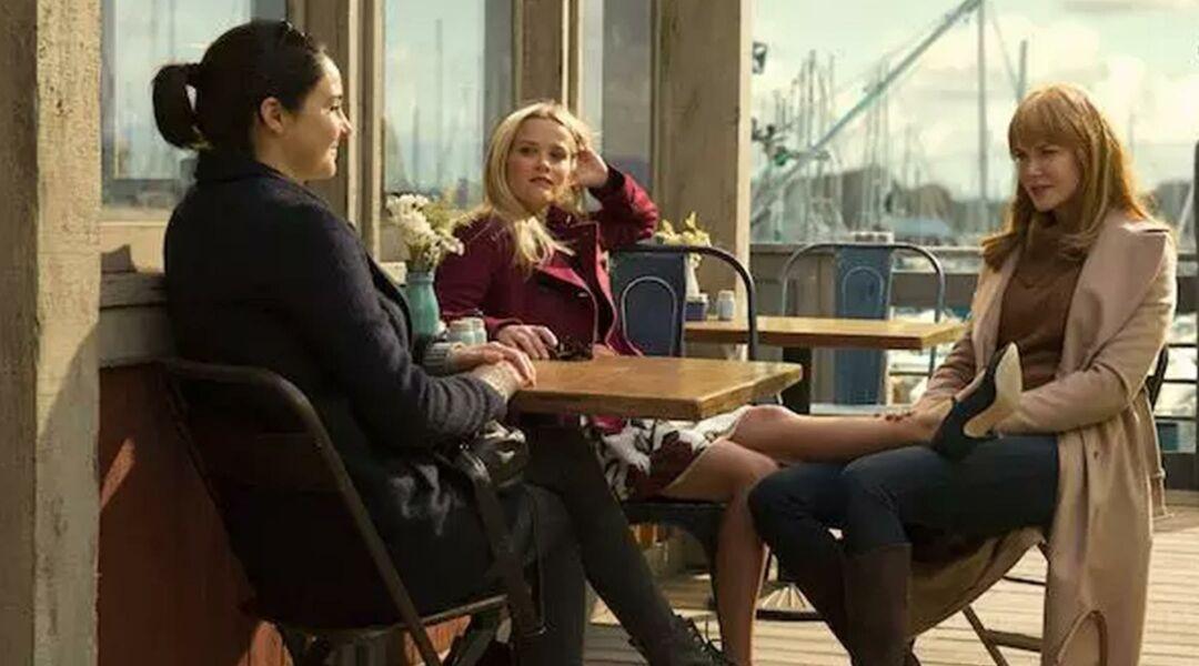 Cast of big little lies at a seaside restaurant