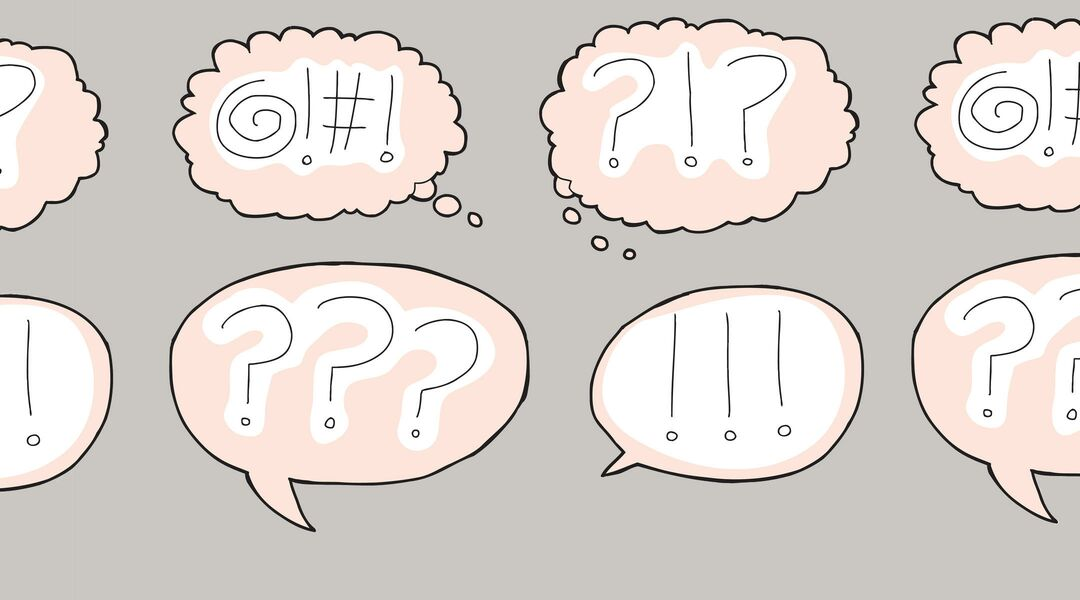 Illustration of various speech bubbles containing expressive punctuation marks.