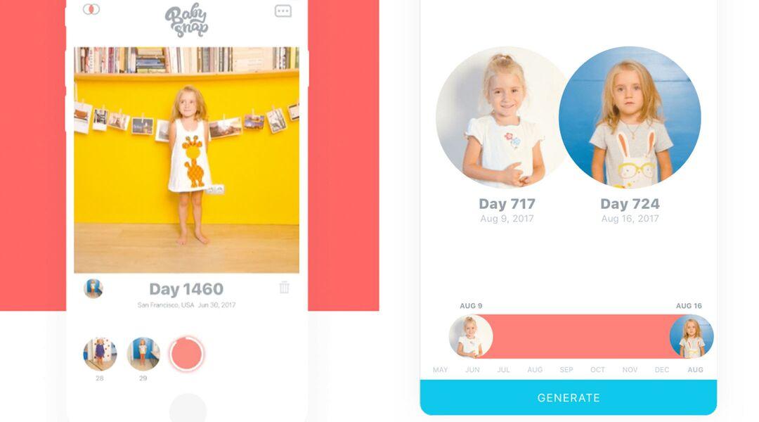 screen shots of Baby Snap app