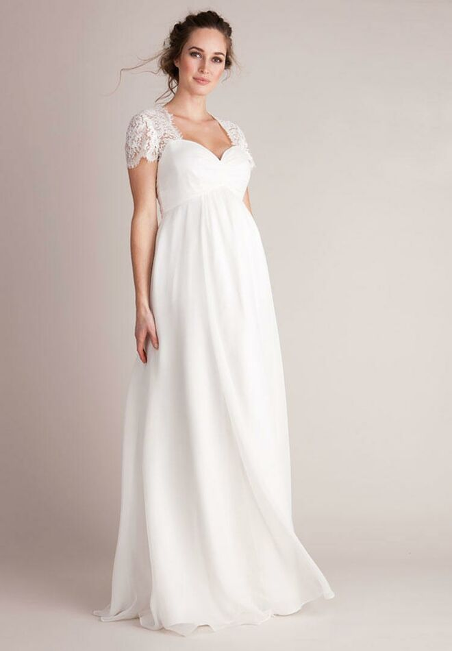 036e9b3dd5f29 Seraphine silk and lace maternity wedding gown