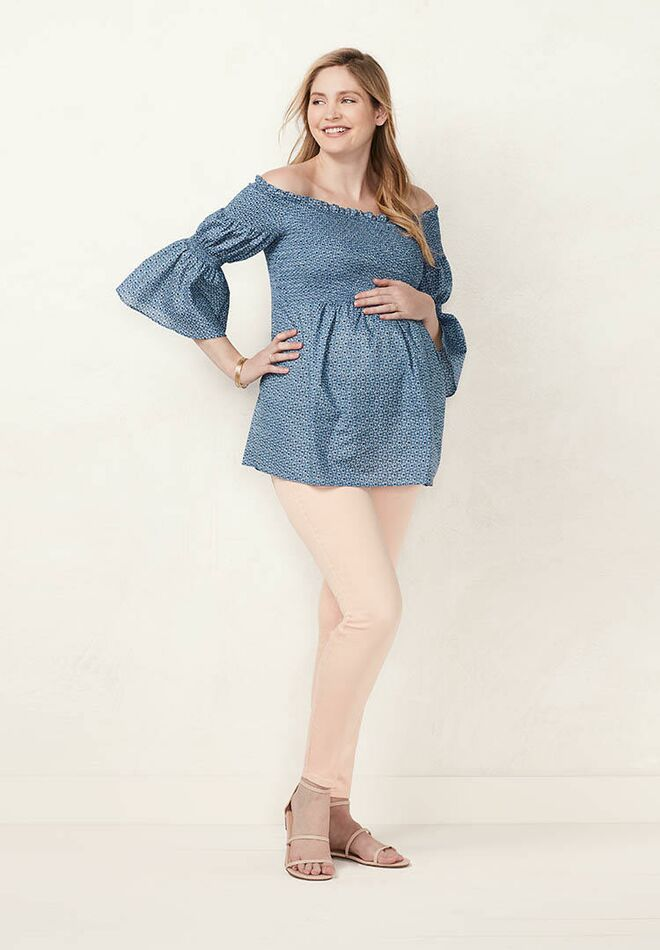 60aff532ecae1 Maternity LC Lauren Conrad Smocked Off-the-Shoulder Top calico heart