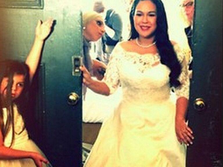 Lady Gaga Wedding.Lady Gaga Was A Bridesmaid This Weekend And Wore A Pretty Purple Dress