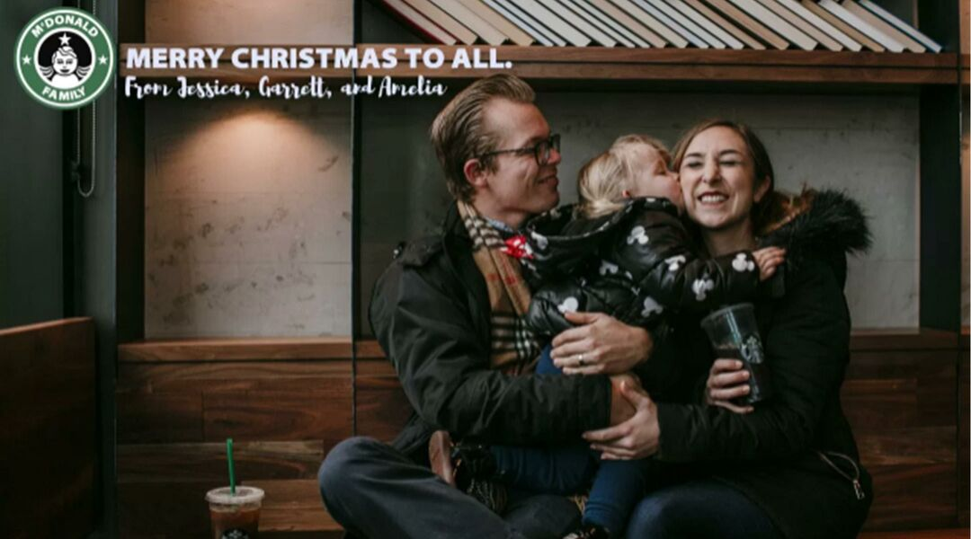 Family Poses For Christmas Card Photos In Starbucks