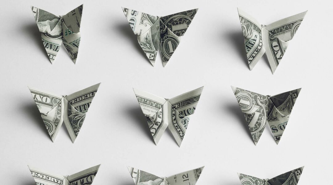 saving money, money folded into origami butterflies