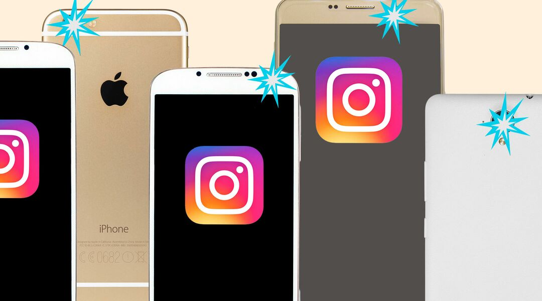collage of phones with instagram motif