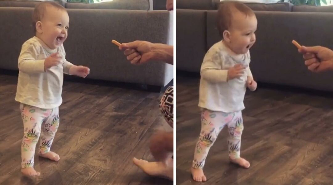 Baby walking toward a French fry