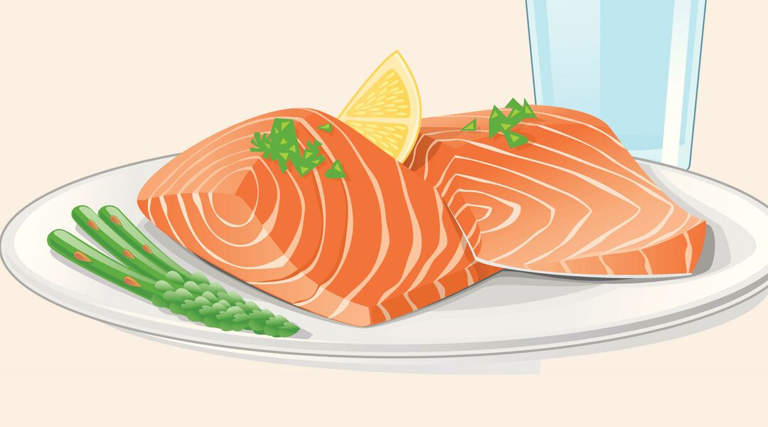 Illustration of healthy diet, salmon and asparagus.