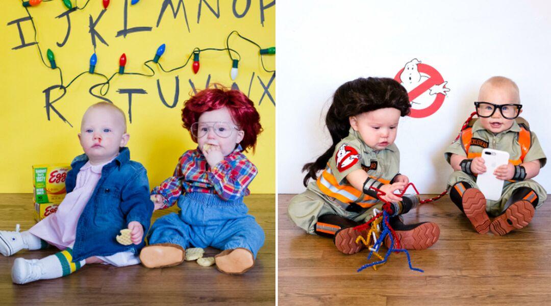 Twins in DIY halloween costumes