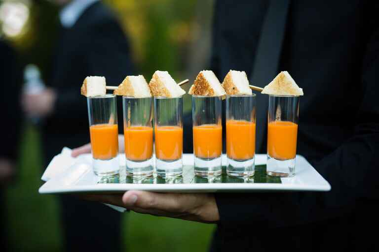 Grilled cheese shooters with tomato soup